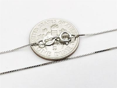 """10K 16"""" Inch Solid White Gold Thin Dainty BOX Necklace Chain .5mm 10K Gold"""