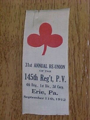 1912 G.A.R. 145th REGIMENT PA REUNION RIBBON ARMY OF THE POTOMAC CIVIL WAR