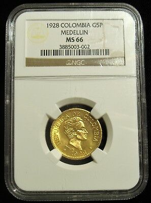 Colombia: Republic gold 5 Pesos 1928 Medellin, KM204, MS66 NGC. Very RARE grade!