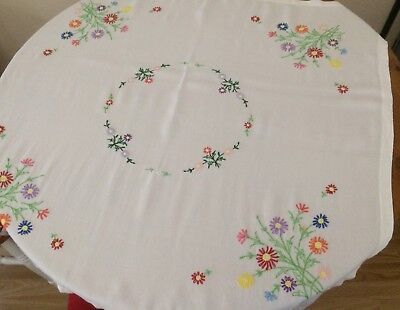 "Vintage hand embroidered tablecloth Viscose with floral design 39 3/4"" x 37 1/2"""