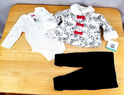 New with Tags Little Me 3 Piece Baby Girl Outfit Coat Pants Long Sleeve One Piec
