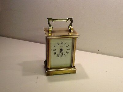 Vintage Solid Quality Brass WEISS Carriage Clock,Quartz Battery Operated,working