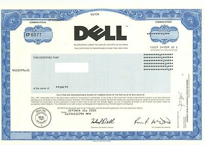 Dell Inc Authentic Stock Certificate Signed By Michael Dell - Rare Collectible