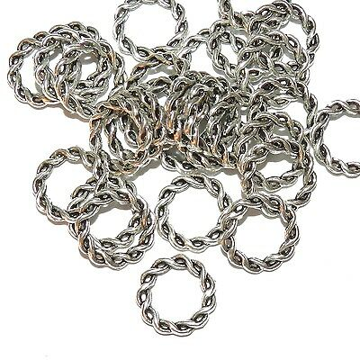 MX7136 Antiqued Silver 15mm Twisted 2-Strand Round Jumpring Style Link 200pc