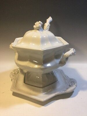 Ironstone Soup Tureen w/Ladle & Under Plate - Flower Finial - Red Cliff