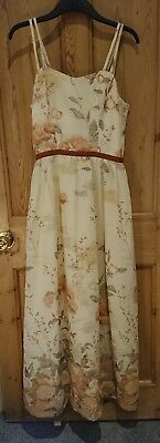 Stunning vintage 1970s maxi dress, 10-12, floral ivory and browns