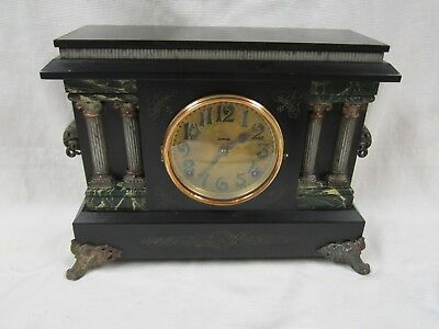 1912 Estate Ingraham  Adamantine 8 Day Chime And Strike Mantle Clock Runs Well