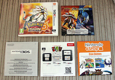 *no Game* Pokemon Sun Version Case & Leaflets Only Nintendo 3Ds 2Ds