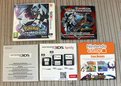 *no Game* Pokemon Ultra Moon Version Case & Leaflets Only Nintendo 3Ds 2Ds