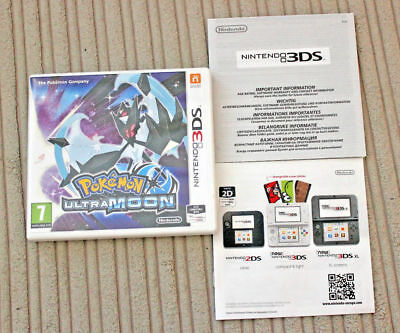 *no Game* Pokemon Ultra Moon Version Case & Leaflets Only Nintendo 3Ds 2Ds.