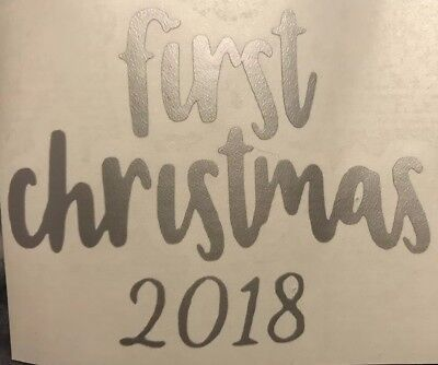 X10 First Christmas 2018 Tree Vinyl Decal Crafts Bauble Decoration DIY Unique