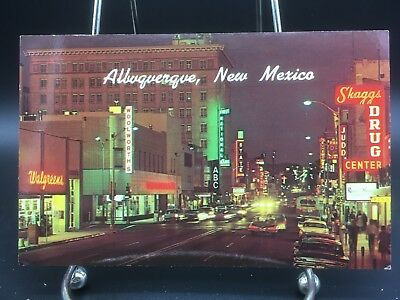 c1960 Postcard~  Busy Downtown Albuquerque, New Mexico