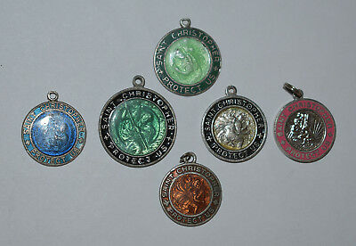 23. A Lot Of 6 Religious Medals With Enamel Saint Christopher, 1 Is Sterling