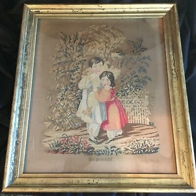 "Early 19th Century Petit Point Needlepoint Picture ""My Brother"" Little Girl Boy"