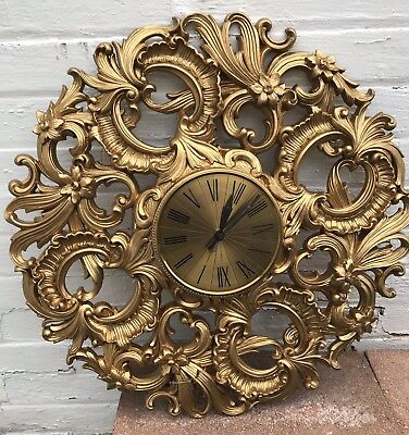 Vintage Ornate Gold Elgin Starburst Wall Clock 1960s Battery