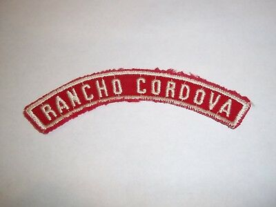 RANCHO CORDOVA red and white community shoulder strip patch; Golden Empire