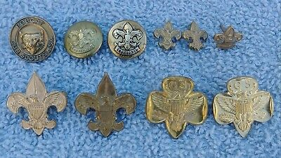 Lot of 10 Vintage Scout Pins