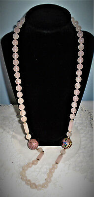 Rose Quartz Knotted Bead Necklace Wedding Cake Bead Accents 31 in.