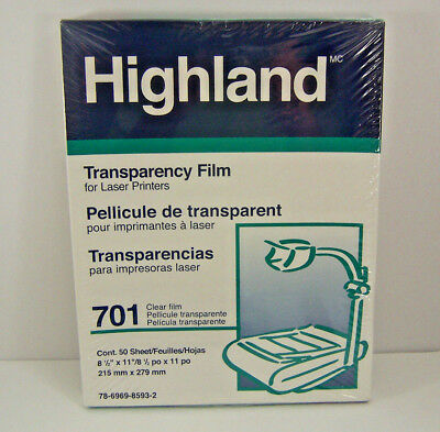 Highland Transparency Film 701 Clear Laser Printers 3M 50 Sheets New Sealed