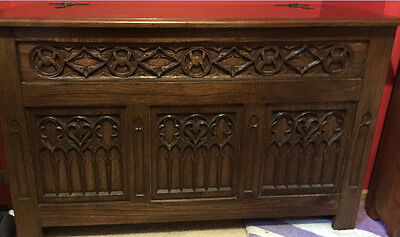 Beautifully Carved Oak Three Panel Chest Coffer Chest