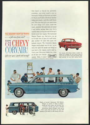 1961 Chevrolet ad blue Corvair Lakewood 700 Station Wagon