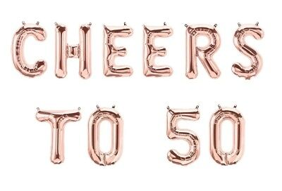 "CHEERS TO 50 Letter Balloons - 16"" Rose Gold - 50th Birthday-50th Anniversary-US"