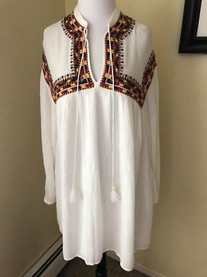 c6ffe51d3288b0 NEW ZARA TRAFALUC White Embroidered Peasant Blouse Top Shirt Ethnic Folk  Size XS