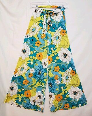 Vintage Women's Floral 1970's Hippy-Style Pants with Matching Belt Petite Sz XS
