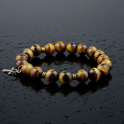Tiger Eye Ankh Bracelet Egyptian Key of Life Black Onyx 10 mm One Size