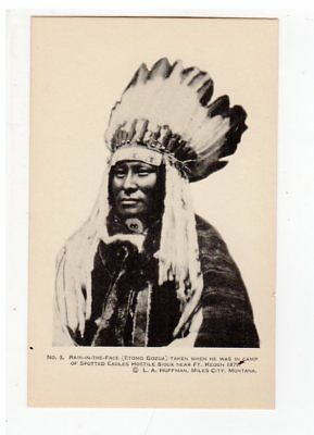 L. A. Huffman 1926 series postcard # 3, Rain-In-The-Face, Scarcer #, Indian, MT