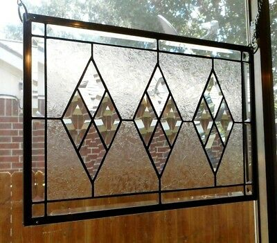 """Diamond Chip- Stained Glass Window Panel Hanging 18 1/2""""x 12 5/8"""""""
