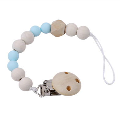 Chain Wooden Holder Soother Pacifier Clips Leash Strap Nipple Holder For Infant