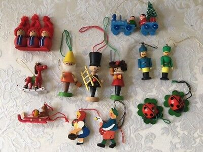 13 Wooden Christmas Ornaments some ERZGEBIRGE Germany Vintage Lot 1