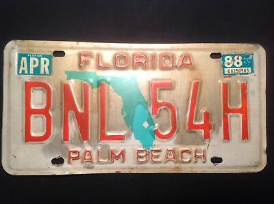Florida License Plate 1988
