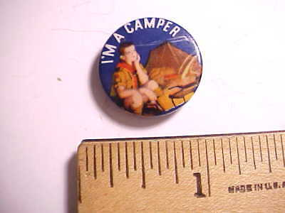 """1930s OLD BOY SCOUT CELLULOID PIN BACK BUTTON """"I'M A CAMPER"""" 7/8"""" across VG"""