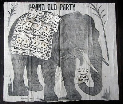 Antique 1890 Grand Old Party Elephant Peanuts Republican Game  SG