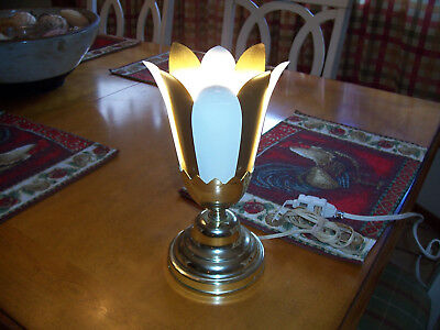 Vintage MCM Gold & White Metal Petal Style Lamp Works Great