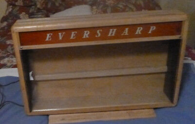 Eversharp  Store Display Case Wood Curved Glass