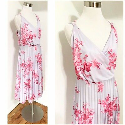 Nwt Asos Lilac Floral Pleated Midi Dress Wedding Guest S Us 10 Uk 14 Eur 42