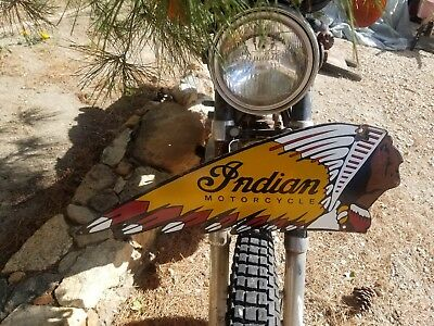 """Indian motorcycle ""8x24""  Vintage Steel convex Porcelain Advertising sign."