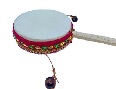 Peruvian Tic- Tac Spin Drum Hand Toy Music Instrument Natural Sheep Leather (#2)