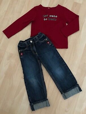 Girls 3/3T 4T Gymboree Holiday Panda Red Too Cute To Bear Top Shirt Flower Jeans