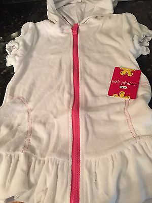Girl's White Terry Bathing Swim Suit Cover Up Full Zip Hooded Size 4 NWT