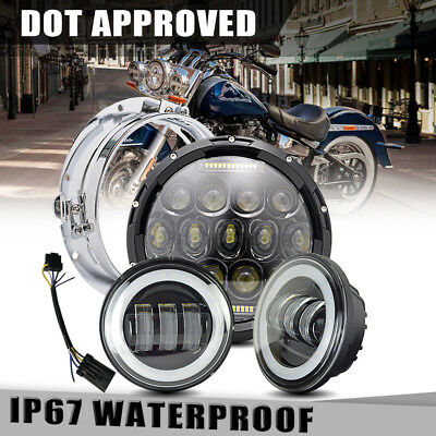 """75W 7"""" LED daymaker Black Headlight 4.5"""" Passing Light Fit Harley Touring"""