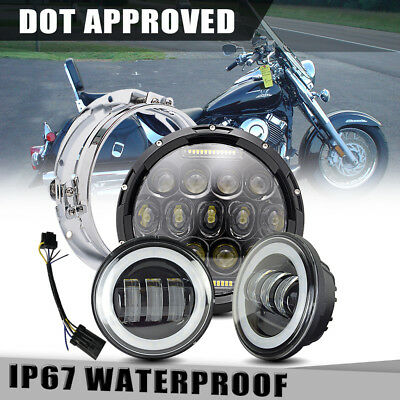 """75W 7"""" LED daymaker Black Headlight 4.5"""" Passing Light Fit Harley Motorcycle"""