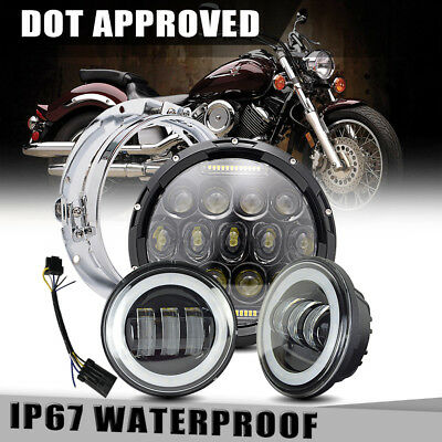 """75W 7"""" LED daymaker Black Headlight 4.5"""" Passing lamp Fit Harley Touring"""
