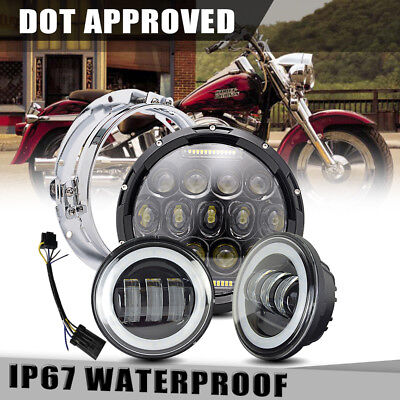 """75W 7"""" LED daymaker Black Headlight 4.5"""" Passing lamp Fit Harley Motorcycle"""