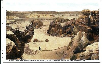 1023 Outlook fm Pueblo of ACOMA-Trail in foreGround, NM.,FRED HARVEY  Postcard.