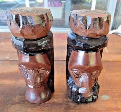 """Vintage African Tribal Art Wooden Hand Carved Heads Male & Female Tiki Statue 6"""""""