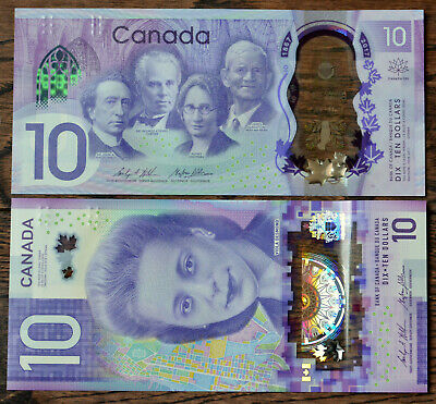 CANADA 2 x 10 $ (Ten Dollars) Polymer Banknotes 2013 & 2017-Total $ 20 Brand New